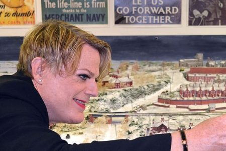 Eddie Izzard at the WWII gallery in Bexhill Museum